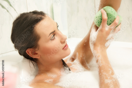 Beautiful women relaxing in her bath