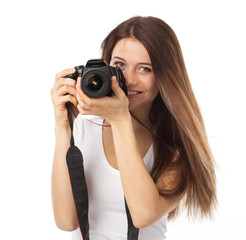 Cute smile and digital camera