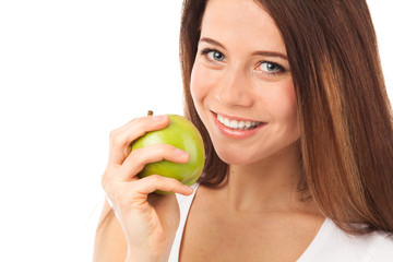 Cute smile and green apple