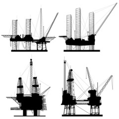 Silhouettes of units for oil industry