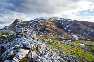 view of Gorbea mountain with beautiful light and some snow