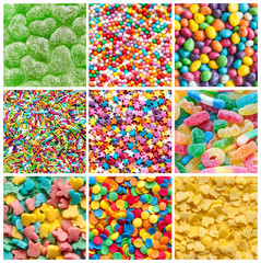 colorful collage of various candies and sweets as background