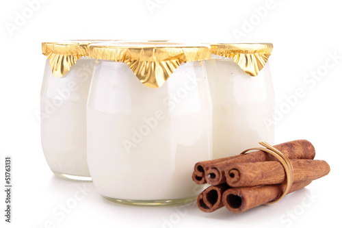 isolated yoghurt and cinnamon