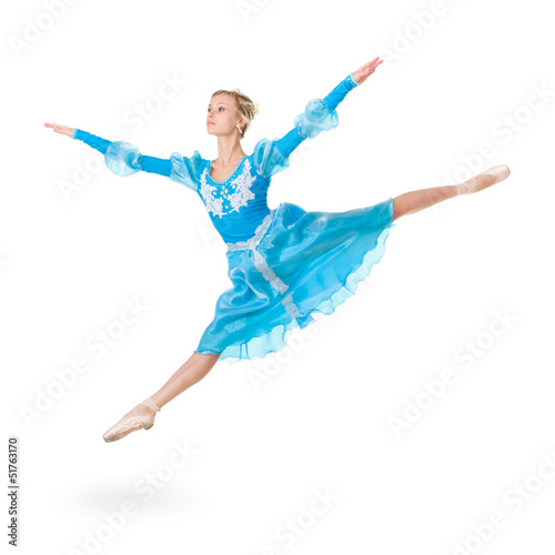 Full length of young ballerina jumping