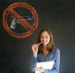No guns pacifist business woman, student, teacher or politician