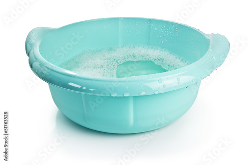 plastic basin with water, clipping path included