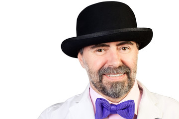 Portrait of happy middle-aged man in a hat