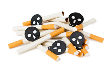Heap of cigarettes with black skulls