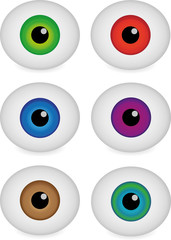 Different color eye balls, vector illustration