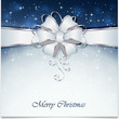 Blue Christmas background with bow