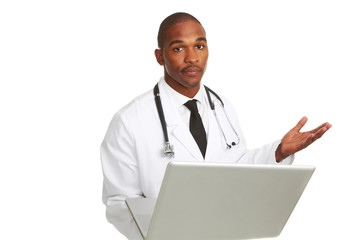 African-American doctor with laptop confused