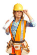Content beautiful female construction worker