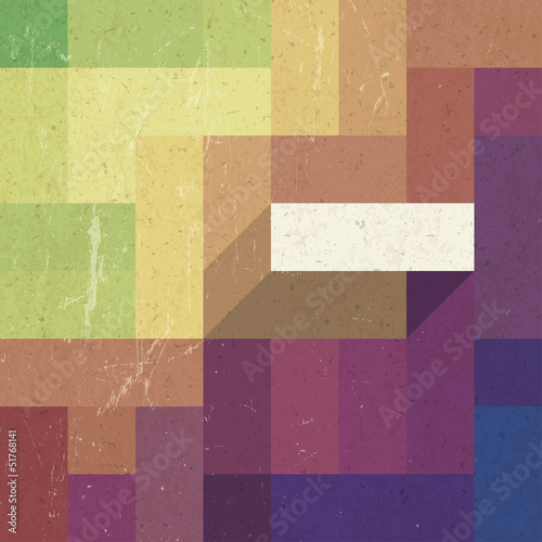 Sticker Retro colorful rectangles background, vector