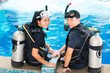 Teacher and student in a diving school