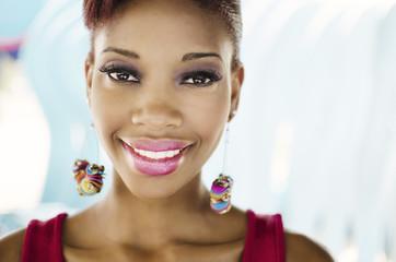 Beautiful African American fashion model smile