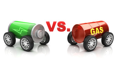 electric car vs. gas car