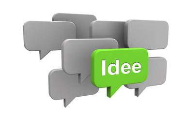Sprechblasen mit Idee - Konzept Kreativität