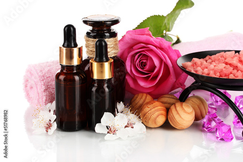 Spa composition with aroma oils isolated on white