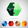 hexagon  from puzzle pieces, vector illustration