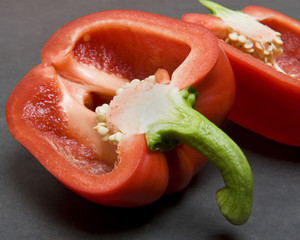 Halved Red Bell Pepper Closeup