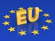european union 3d illustration - EU with golden stars