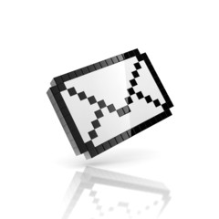 e-mail 3d icon - pixelated envelope