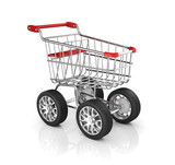 shopping cart with car wheels