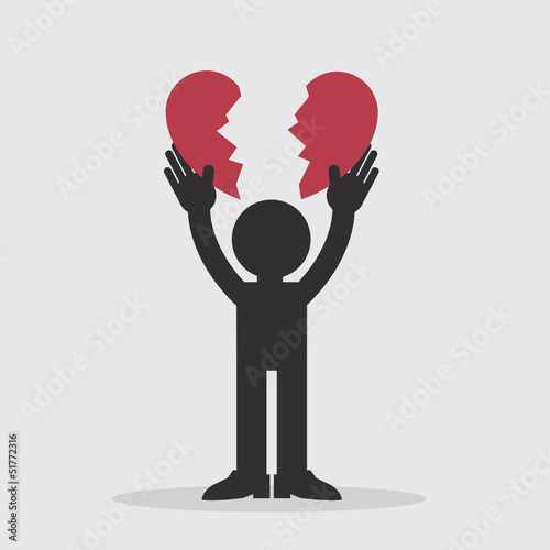 Figure ripping a heart in half