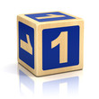 number one 1 wooden blocks font