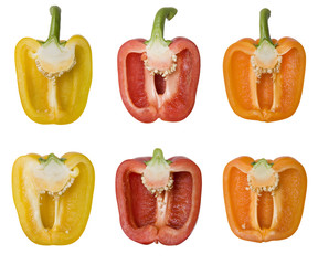 Bell Peppers Isolated on White with Clipping Path