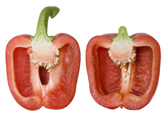 Red Bell Pepper Isolated on White with Clipping Path
