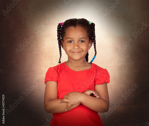 Smiling little girl with her crossed arms