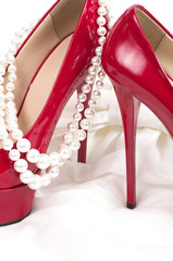 Red sexy shoes with pearls beads