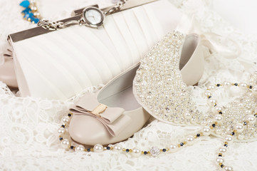 White shoes and bag with pearls beads