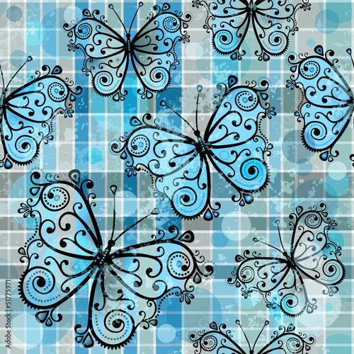 Checkered seamless pattern with butterflies