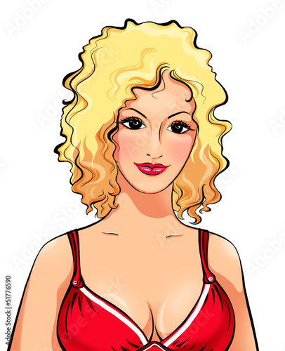 Portrait of the blonde in red on white, an illustration
