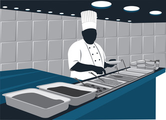 Chef in buffet
