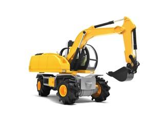 Modern yellow excavator machines