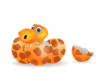 Cartoon illustration of a baby dinosaur hatching