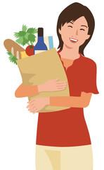 買い物袋を持った女性