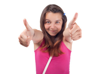 Cute girl with thumbs up