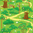 Seamless pattern - Green Forest Landscape with trees, flowers, b