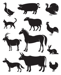 monochrome illustration of twelve farm animals