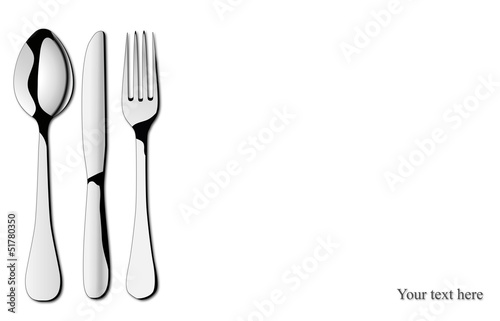 Flatware on white background