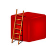 Red cube and wooden ladder