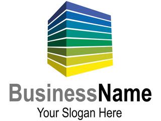 Logodesign mit Quader im frischen gelb-grün-blau Farbspektrum