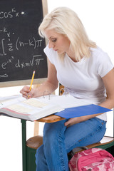 Caucasian college student woman studying math exam