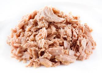 Tuna. canned fish on white