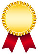 Golden Award Badge Red Ribbon