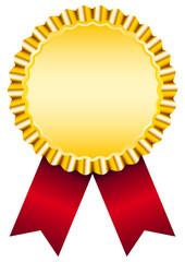 Golden Award Badge Red Ribbon